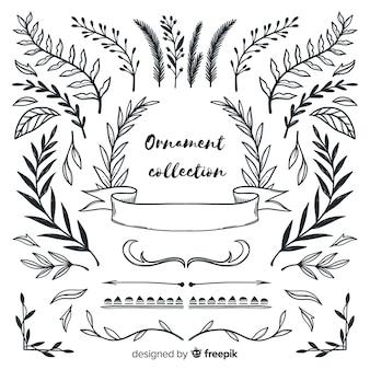 Folhas bonitas entrega a coleção de ornamentos de estilo desenhado