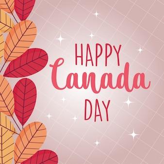 Folhas canadenses de feliz dia do canadá