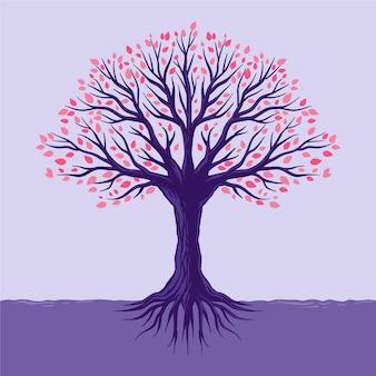 Folhas coloridas desenhadas à mão em árvores