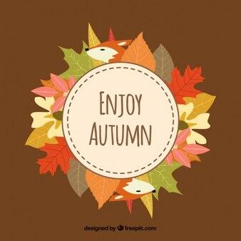 Folhas coloridas e raposas para comemorar o outono