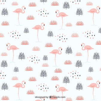 Folhas com flamingos padrão