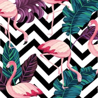 Folhas com fundo de figuras flamenga e geometrick