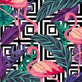 Folhas com fundo tropical flamengo e figuras