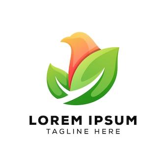 Folhas com logotipo de pássaro