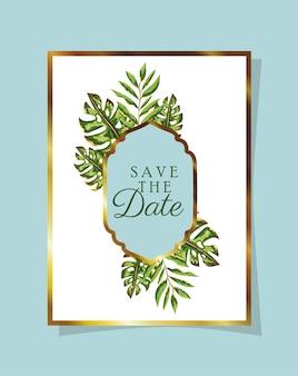 Folhas convite de cor branca com folhas verdes sobre fundo azul