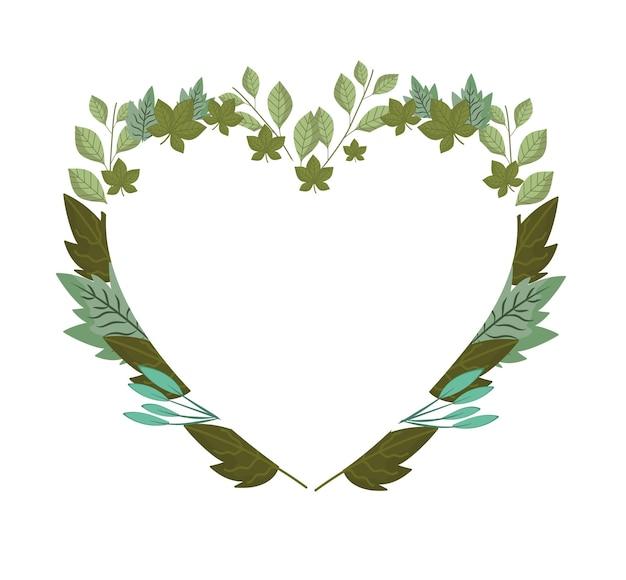 Folhas da natureza, ilustração da decoração do coração em forma de moldura