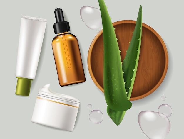 Folhas de aloe vera e cosméticos realistas