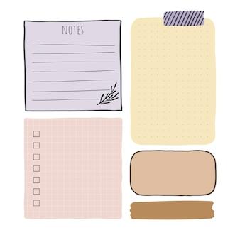 Folhas de anotações de papel de vetor isoladas em branco elementos de design de vetor para bullet journal e planejador