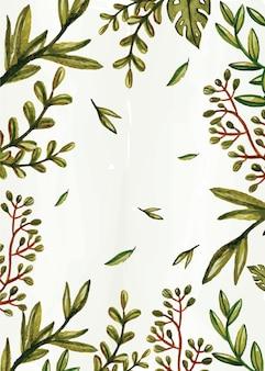 Folhas de aquarela desenhadas à mão