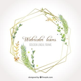 Folhas de aquarela em moldura linear dourada