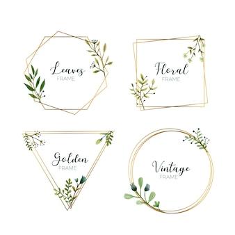 Folhas de aquarela em molduras douradas
