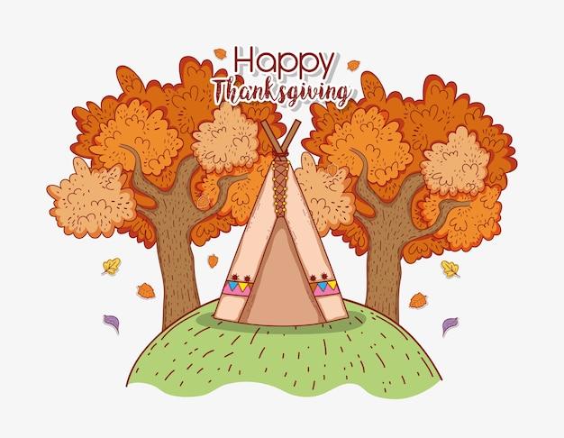 Folhas de árvores de outono e barraca de acampamento