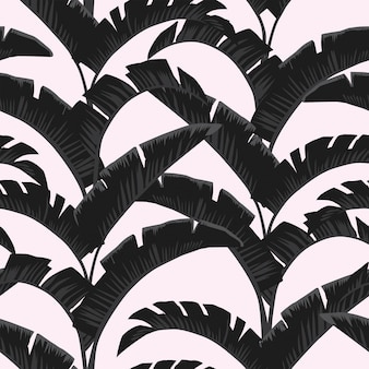 Folhas de bananeira branca preta luz rosa sem costura padrão papel de parede