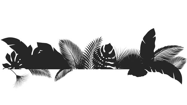 Folhas de bandeira tropical de silhueta