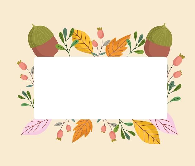Folhas de bolota, folhagem, broto, natureza, decoração, ilustração
