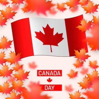 Folhas de bordo caindo e bandeira do canadá