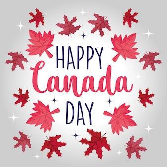 Folhas de bordo canadense de feliz dia do canadá