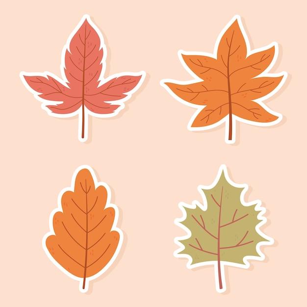 Folhas de bordo de outono folhagem natureza decoração ícones adesivos