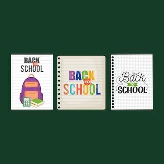 Folhas de caderno com mensagem de volta à escola