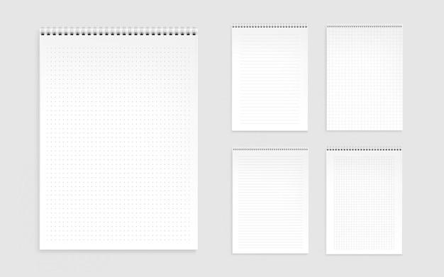 Folhas de caderno, páginas em branco com linhas, pontos e cheques