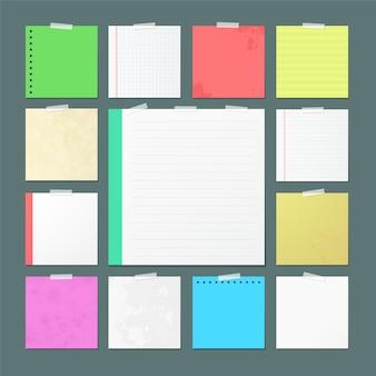 Folhas de caderno rasgado banners para anotações.