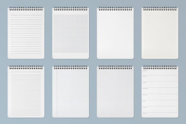 Folhas de cadernos. páginas alinhadas, quadriculadas e de pontos