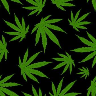 Folhas de cannabis de fundo. padrão sem emenda de maconha.