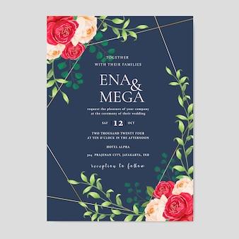 Folhas de cartão de convite de casamento com lindas flores