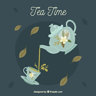Folhas de chá de fundo com design plano