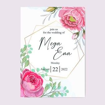 Folhas de convite de casamento com lindas flores