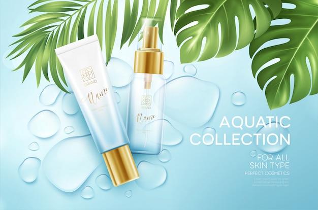 Folhas de cosméticos na água azul cair fundo com palmeiras tropicais. cosméticos de rosto, banner de cuidados do corpo