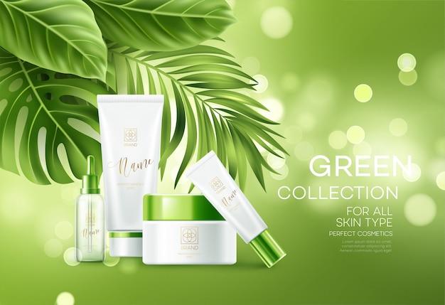 Folhas de cosméticos sobre fundo verde bokeh com palmeiras tropicais. cosméticos de rosto, banner de cuidados do corpo