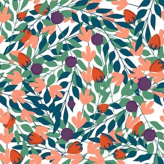 Folhas de ervas verdes e padrão sem emenda de frutos silvestres