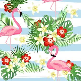 Folhas de flamingo e trópico em listras de fundo padrão sem costura