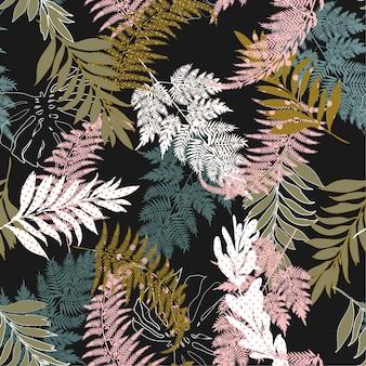 Folhas de floresta preenchem com bolinhas padrão sem emenda