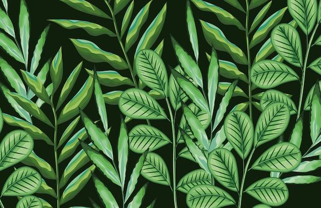 Folhas de folhagem padrão tropical