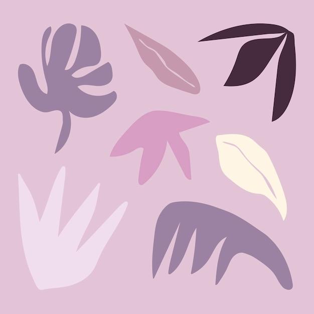 Folhas de formas roxas de memhis abstratas, vetor de conjunto de elementos de design