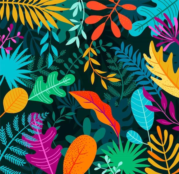 Folhas de fundo selva com palmeiras tropicais.
