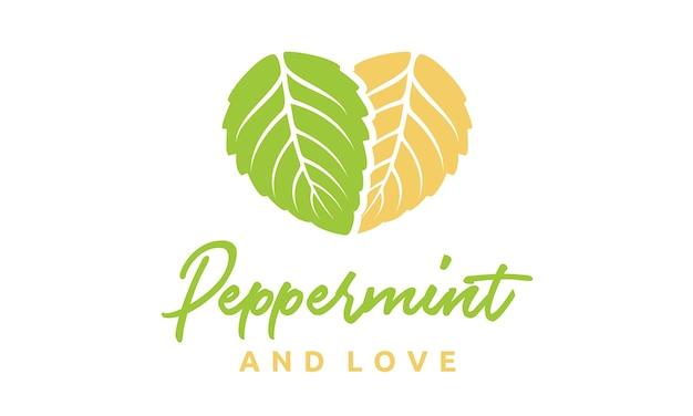 Folhas de hortelã e coração design de logotipo
