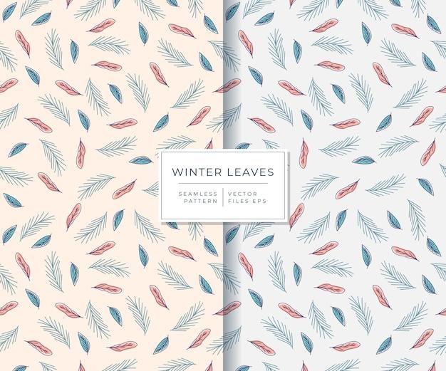 Folhas de inverno com padrão sem emenda de estilo desenhado à mão