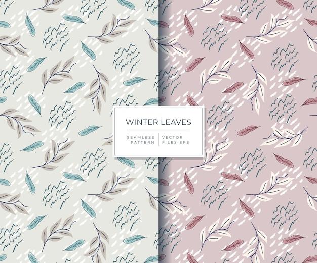 Folhas de inverno lindas com padrão sem emenda de estilo desenhado à mão