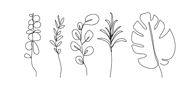 Folhas de linha abstrata moderna de isolado no fundo branco. desenho de ilustrações vetoriais.