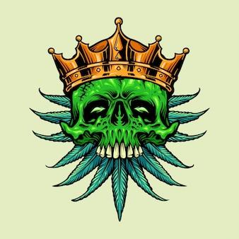 Folhas de maconha com crânio de coroa de ouro rei