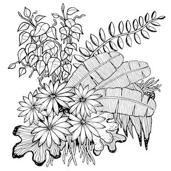 Folhas de mão desenhada