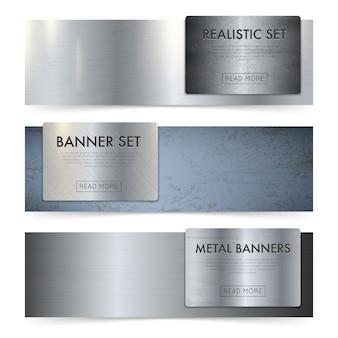 Folhas de metal textura realista banners set