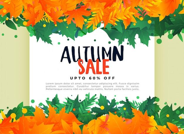 Folhas de outono abstratas fundo de banner de venda