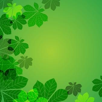 Folhas de outono abstratas sobre fundo verde. ilustração