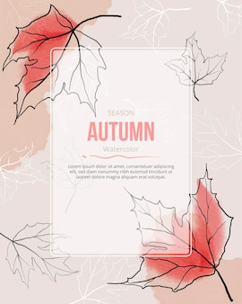 Folhas de outono aquarela fundo vermelho sazonal doodle