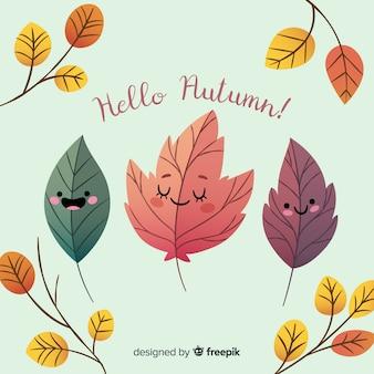 Folhas de outono bonito fundo de personagens