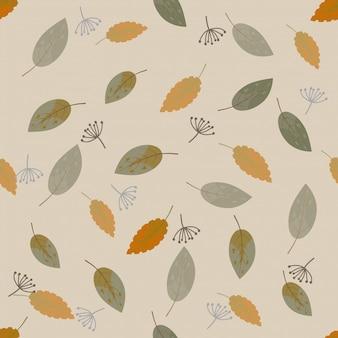 Folhas de outono bonito sem costura padrão sem emenda